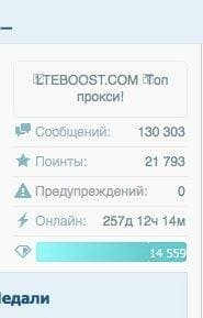 Статистика аккаунта на форуме