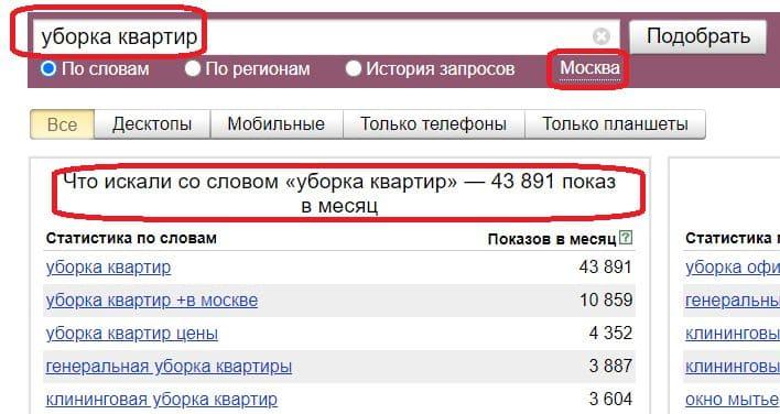 Анализ спроса на продукт с помощью Яндекс Вордстат
