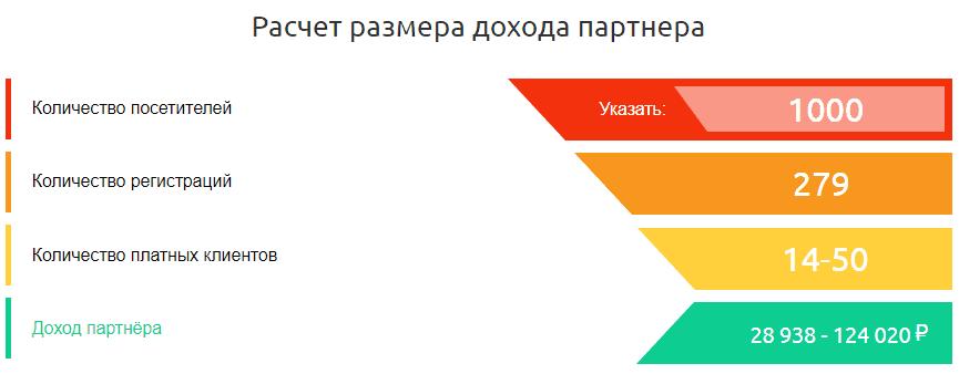 Расчет размера доходов партнера