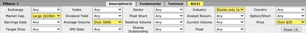 Скриншот базовых параметров поиска